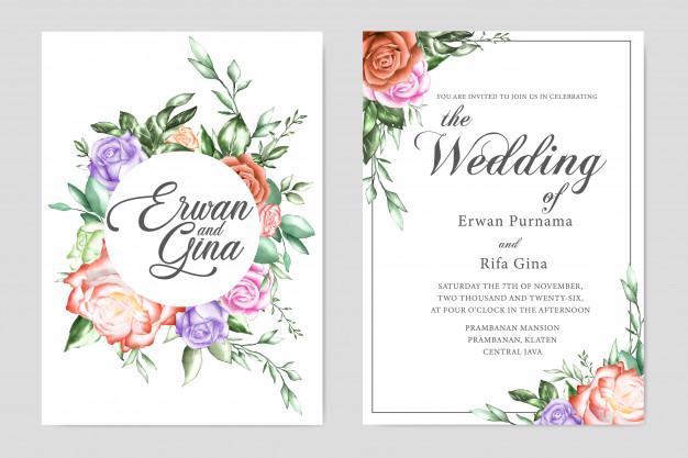 Floral Wedding Invitation Template Card Design Floral Wedding Invitations Floral Wedding Invitation Card Flower Wedding Invitation
