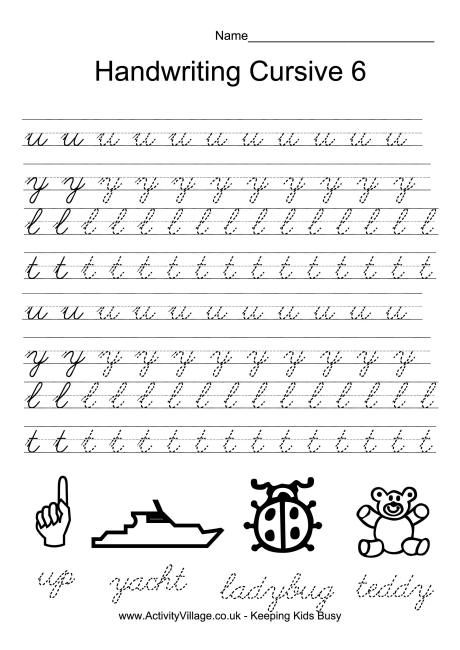 Handwriting practice cursive 6 | Bullet journal board | Pinterest ...