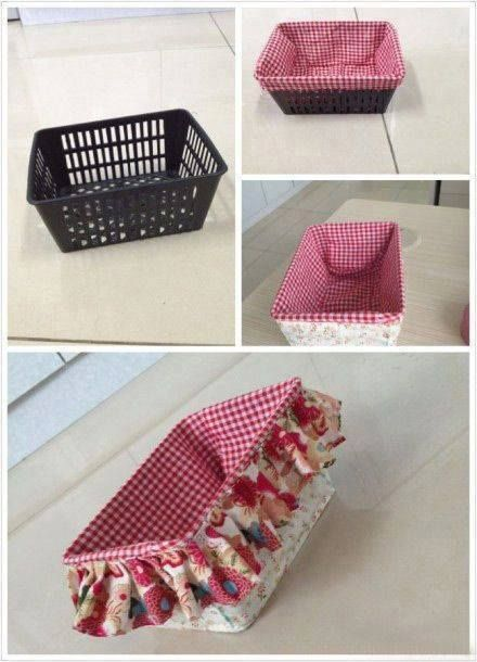 Idea To Line And Cover A Plastic Storage Basket Cute But