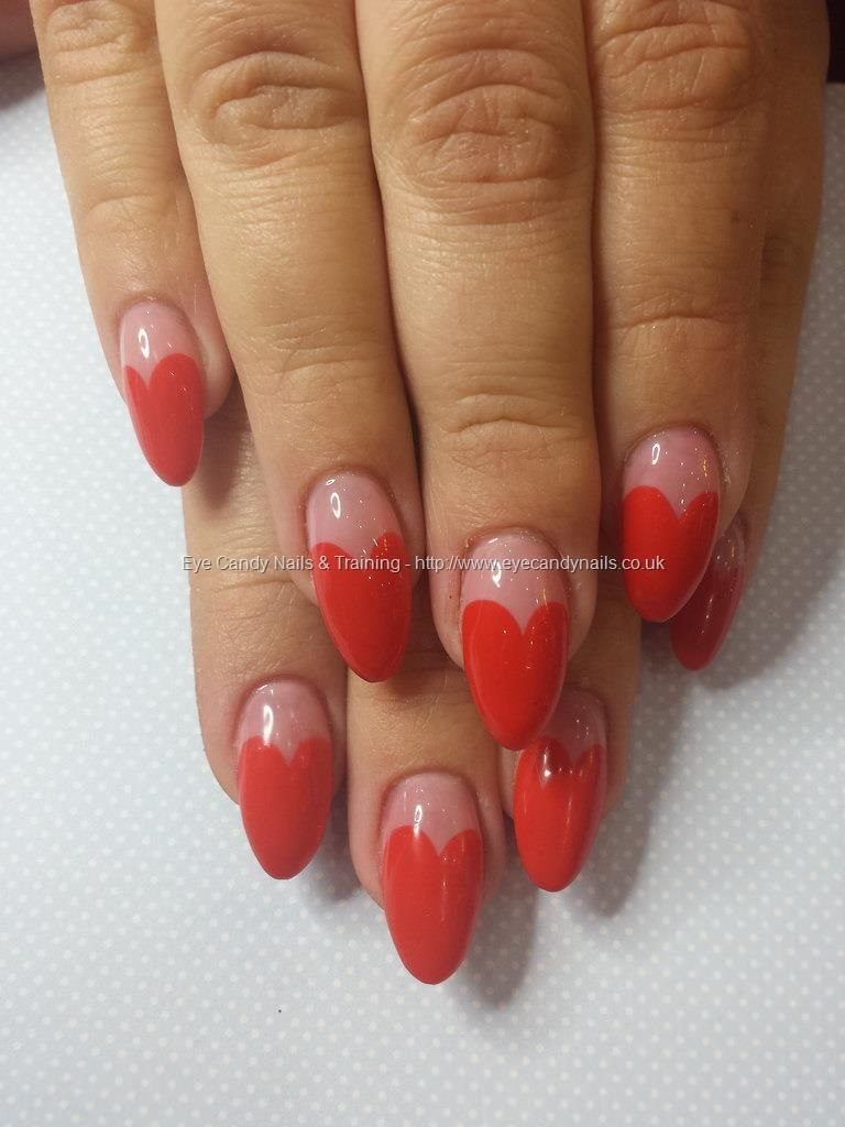 Acrylic almonds with red gel love heart nail art | Eye Candy ...