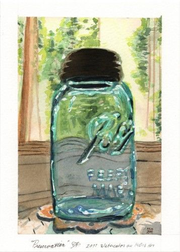 Mason Jar Ball Glass Light Blue Green Tan Trees Window Kitchen