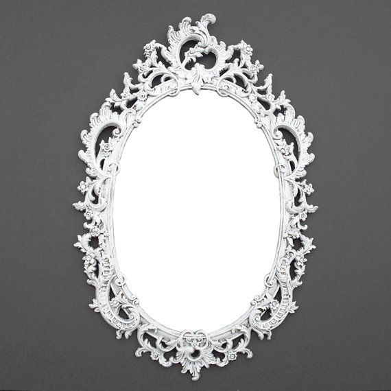 Ornate Oval Vintage Mirror  Distressed White  Syroco Mirror