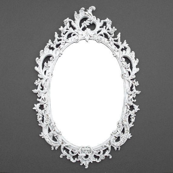 Ornate Oval Vintage Mirror  Distressed White  Syroco Mirror