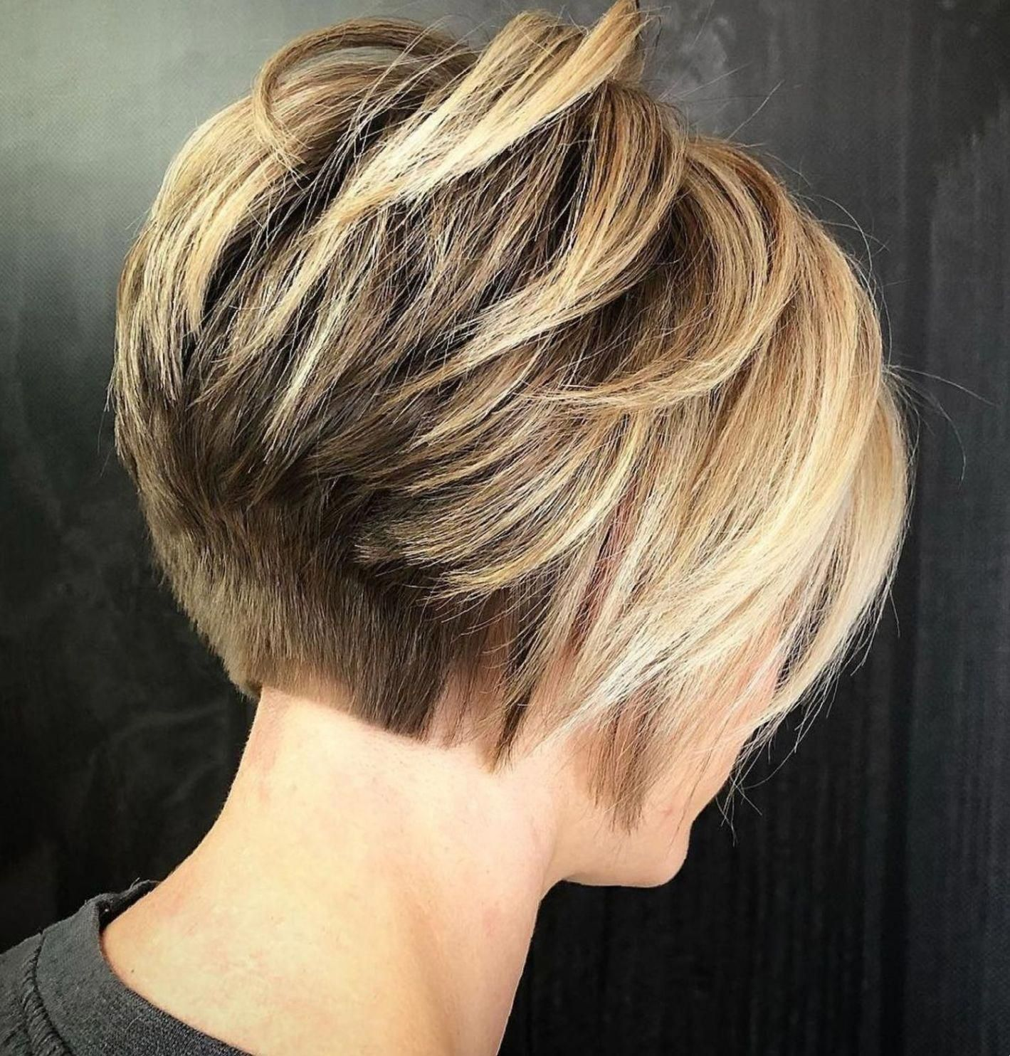 Short Stacked Bronde Bob For Thick Hair #shorthairbobpixie  Short