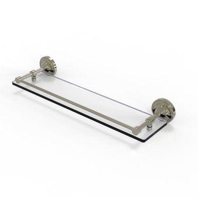 Allied Brass Prestige Regal Tempered Glass Shelf with Gallery Rail - PRBP-1/22-GAL-PNI