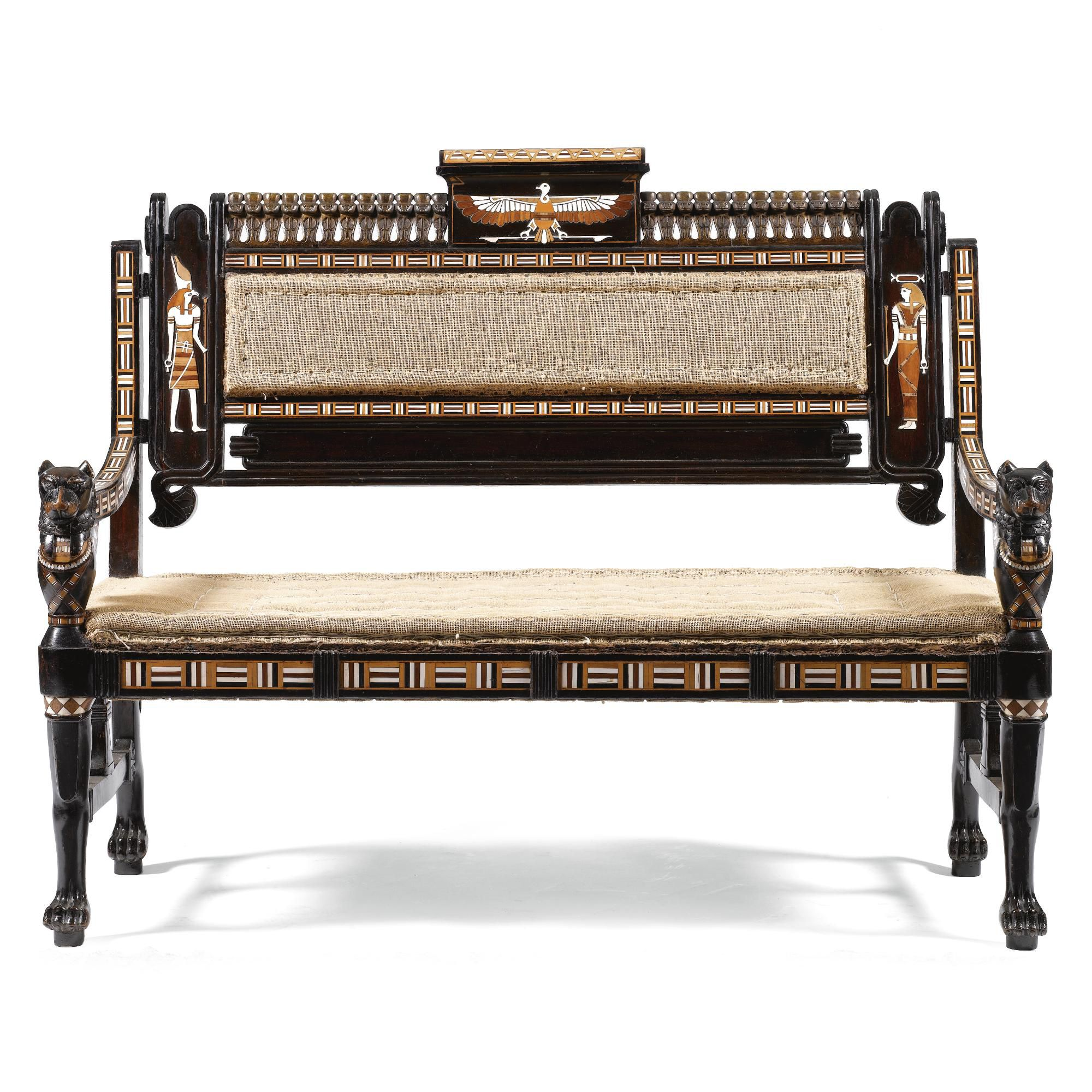 Egyptian Furniture: An Egyptian Revival Ebony And Inlaid Settee, Late 19th