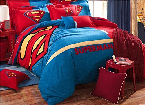 Cartoon Pattern Superman Hero Comforter Duvet Cover Brushed Cotton