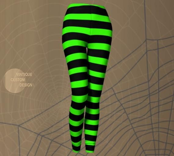 b94cfae512986 Witch LEGGINGS Halloween Tights WOMENS Witch Stockings Wicked Witch Costume  Green Black Striped Leggings Printed Leggings Costume for Her