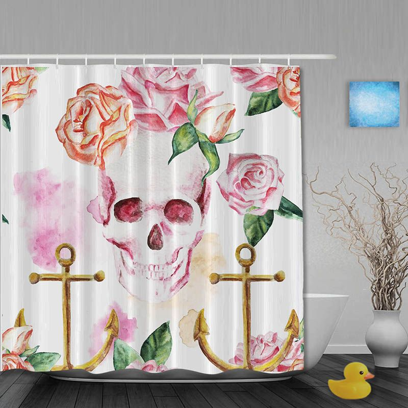 Vintage Skull Shower Curtain Rustic Anchor Rose Bathroom Shower Curtains Waterproof Polyester Fab Skull Shower Curtain Bathroom Shower Curtains Rustic Curtains
