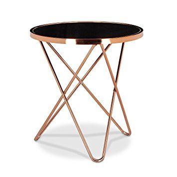 relaxdays table dappoint ronde en cuivre hxlxp 58 x 55 x 55 cm - Table D Appoint Ronde