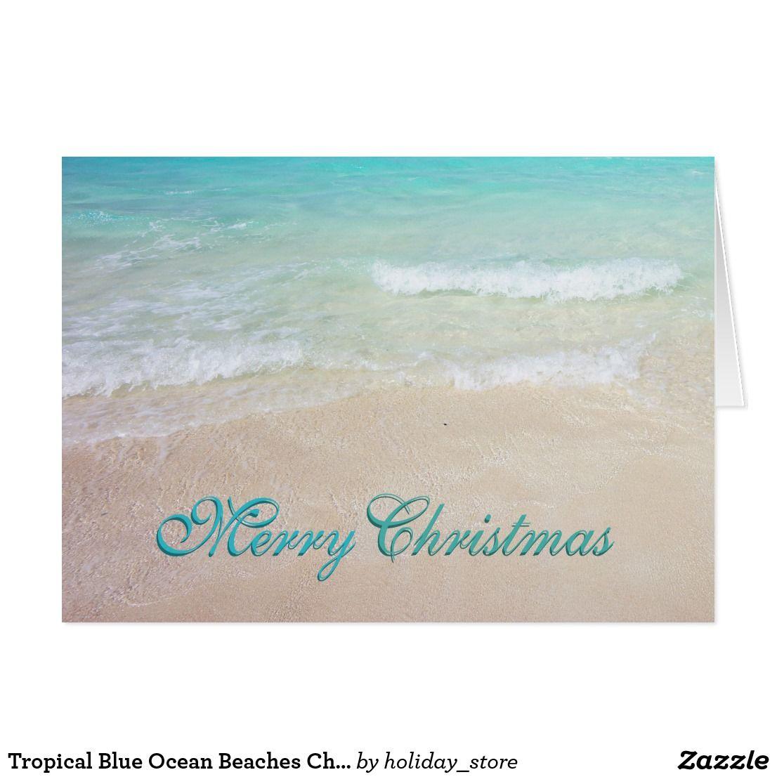 Tropical Blue Ocean Beaches Christmas Cards | Beach christmas cards