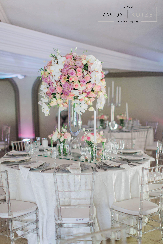 Soft Pink Hydrangeas Roses And Orchids Silver Decor Wedding Classic Wedding Bea Silver Wedding Decorations Silver Wedding Centerpieces Pink Silver Weddings
