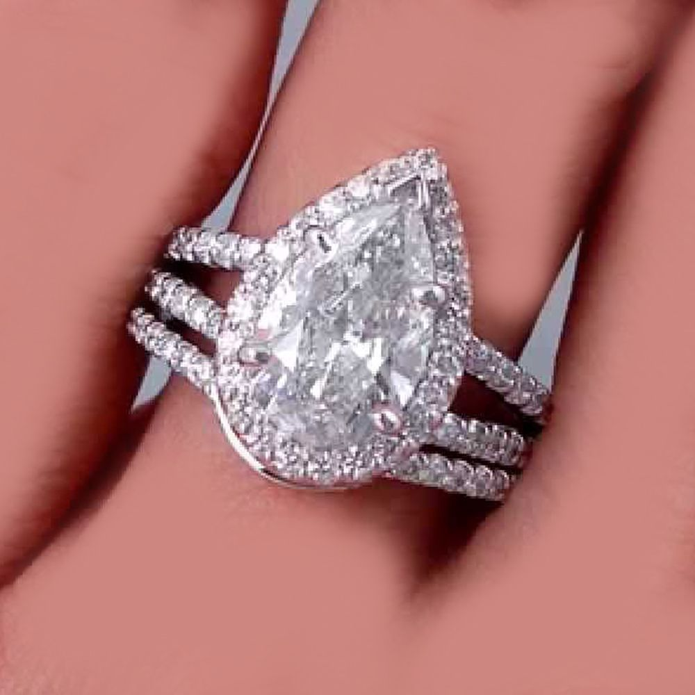 Pear Cut 18k Gold 5.50 Carat Diamond Engagement Ring GIA Certified ...