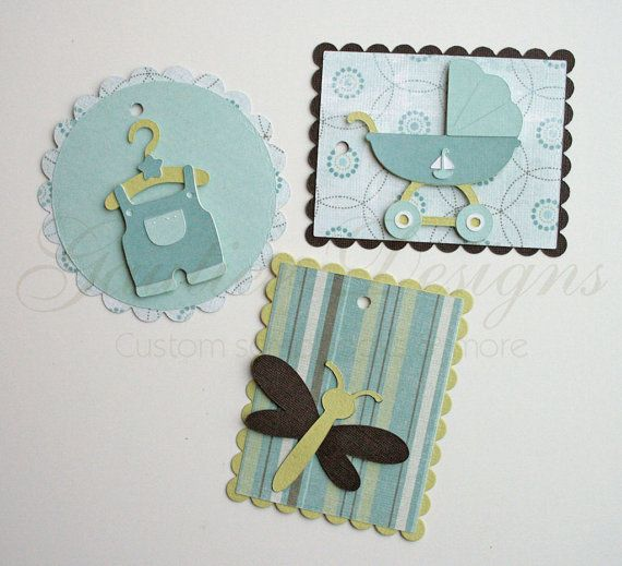 gift tags baby boy blue green on Etsy, $5.00