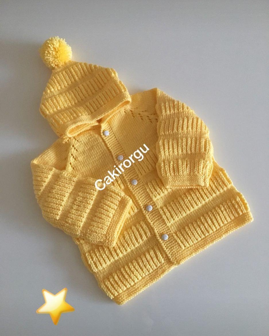 Sarı renkli fular takımlı hırka modeli