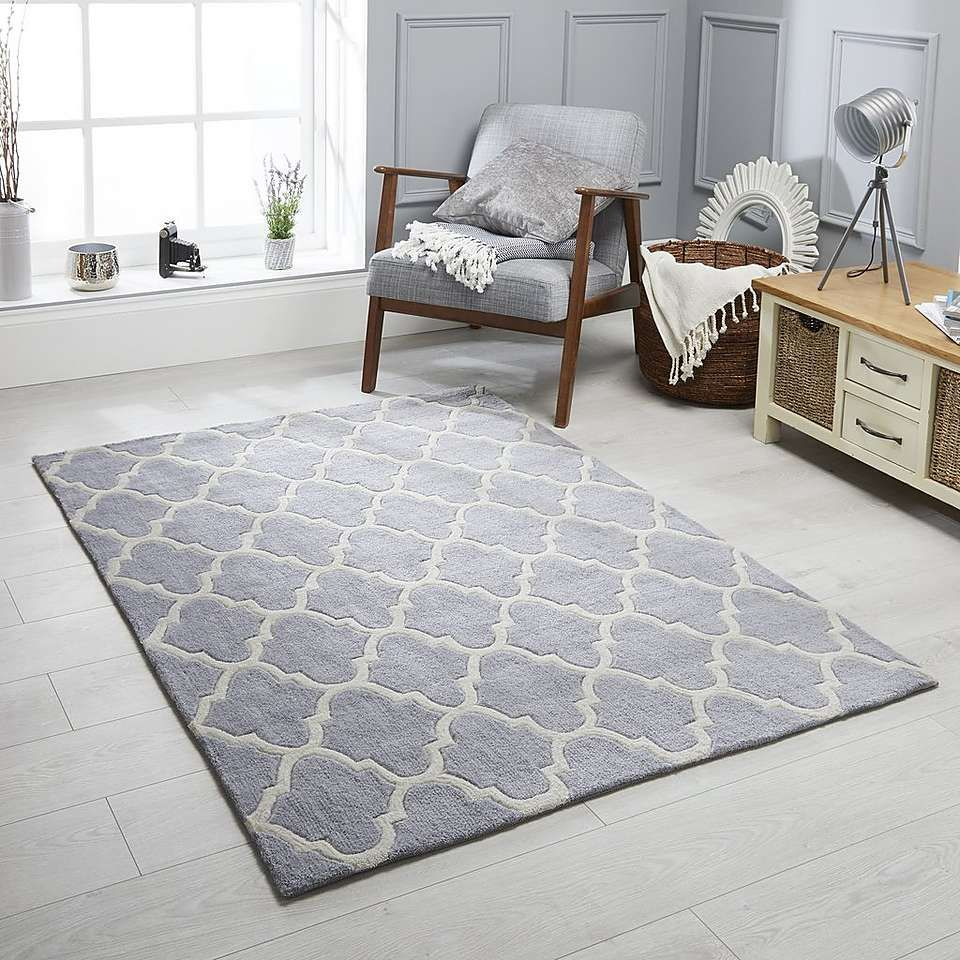 Grey Trellis Rug Modern Rugs Living Room