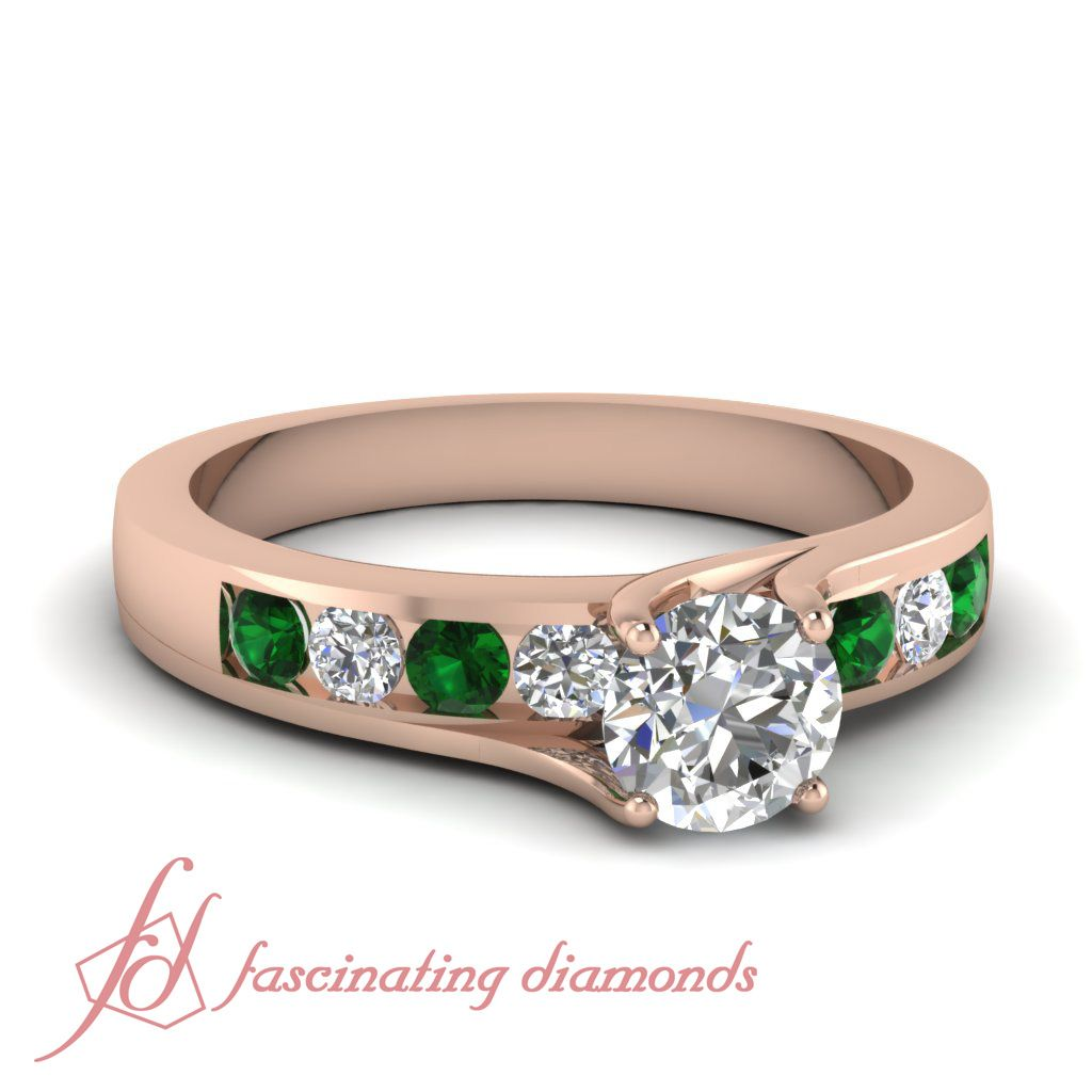 Round Diamonds and Green Emerald 14K Rose Gold Side Stone Engagement Ring in Channel Setting || Sauve Swirl Ring