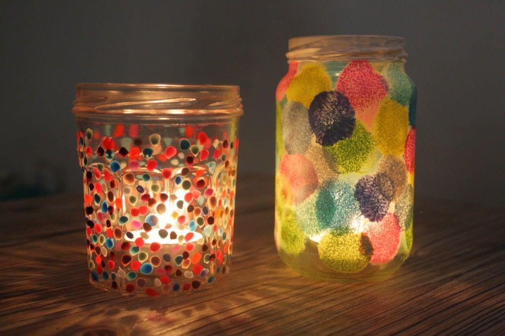 diy : recycler un pot de confiture en photophore à pois   atelier