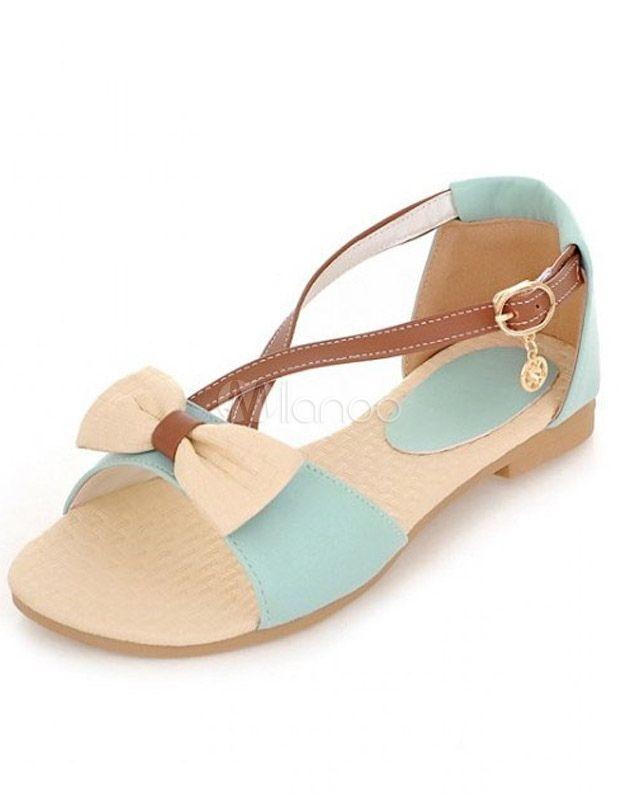 Sandales plates chic croisées en PU color-block avec boucle et nœud -  Milanoo.