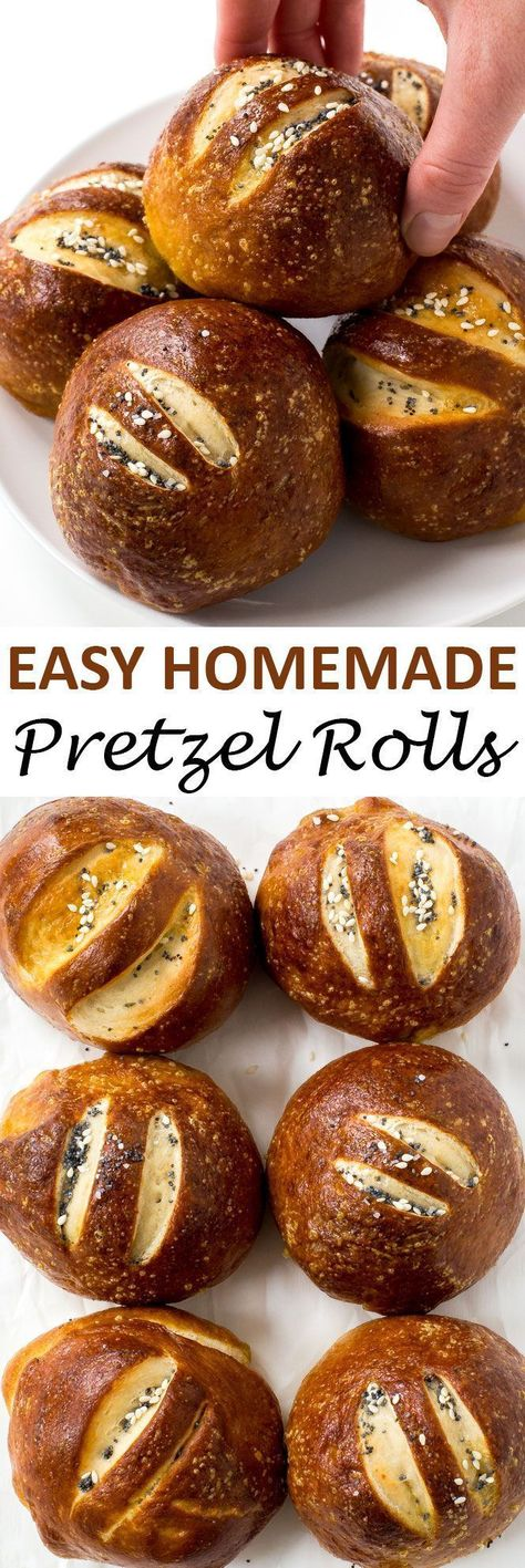Homemade Pretzel Rolls baked to perfection and topped with sesame seeds, salt and poppy seeds. They are a lot easier to make at home than you think!   http://chefsavvy.com #recipe #pretzel #rolls #bread