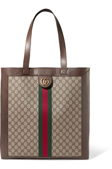 Ophidia Gg Leather-trimmed Printed Coated-canvas Tote - Brown Gucci STNDhxnj5