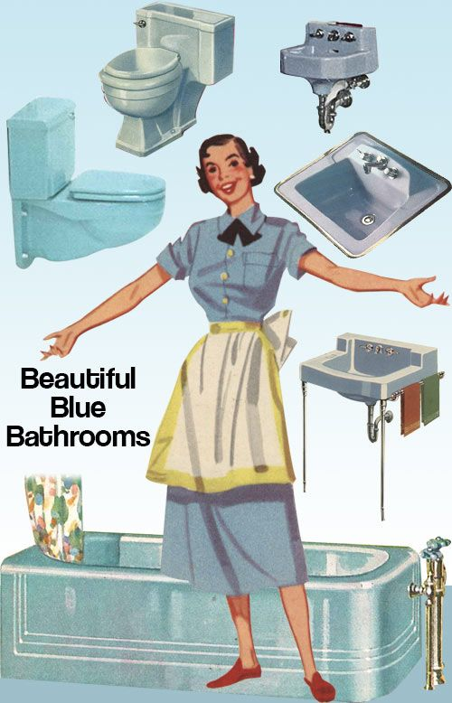 Photo of Vintage blue bathroom colors from seven manufacturers from 1927 to 1962 – Retro Renovation