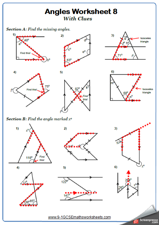 Angles Worksheets Cazoomy Skole