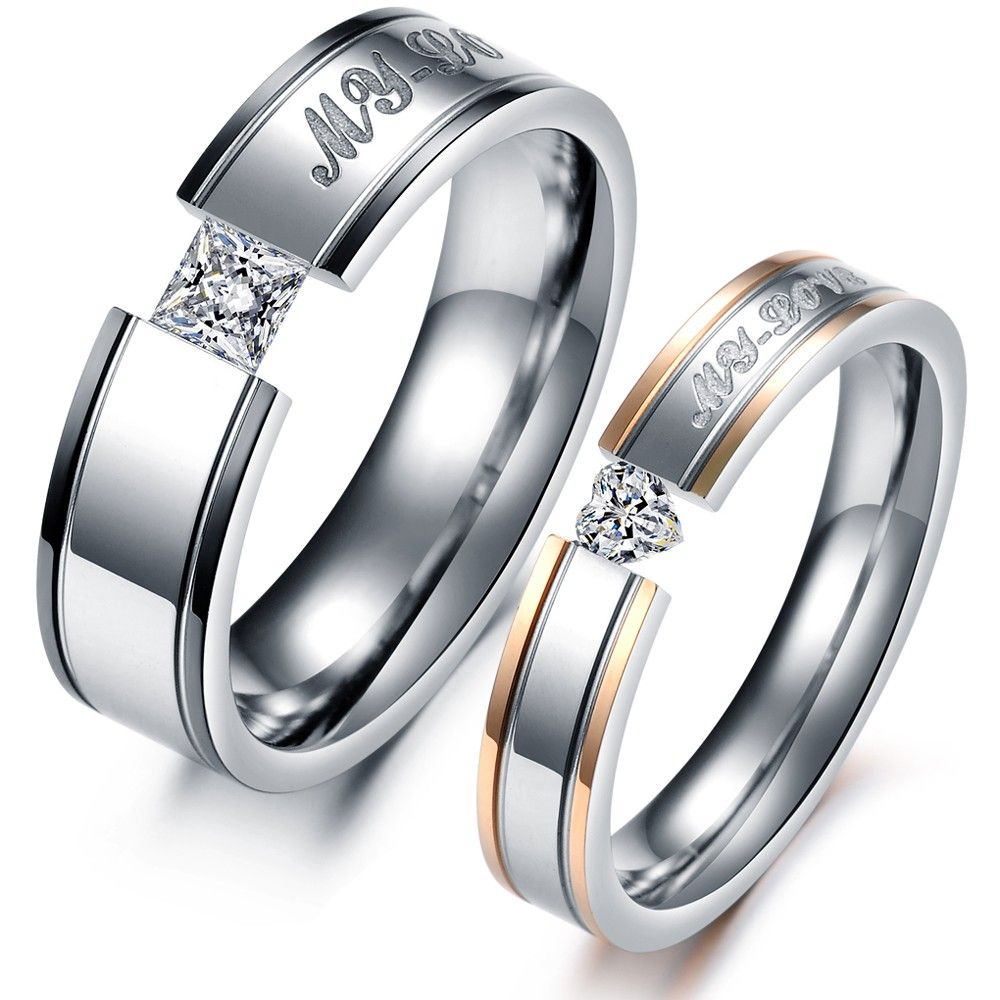 Cartier Design Stainless steel wedding bands, Couple