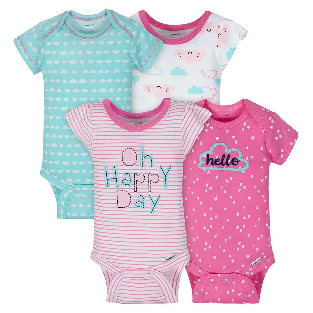 870a704bb 4-Pack Girls Clouds Short Sleeve Onesies® Bodysuits | Onesies® Brand ...