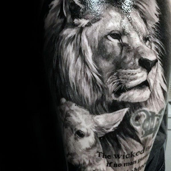 Incredible guys realistic lion sleeve tattoo inspiration for Black and white lion tattoo