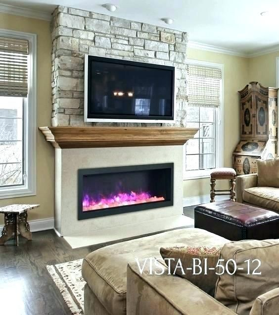 Tv Above Fireplace Ideas Above Electric Fireplace Sierra Flame Vista Electric Stone Wall Wood Mantel Fi Tv Above Fireplace Above Fireplace Ideas Faux Fireplace