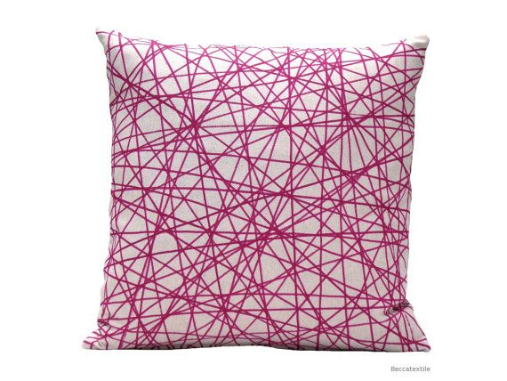 Geometric pillow cover  -  Pink Fuchsia pillow - Natural  modern cushion