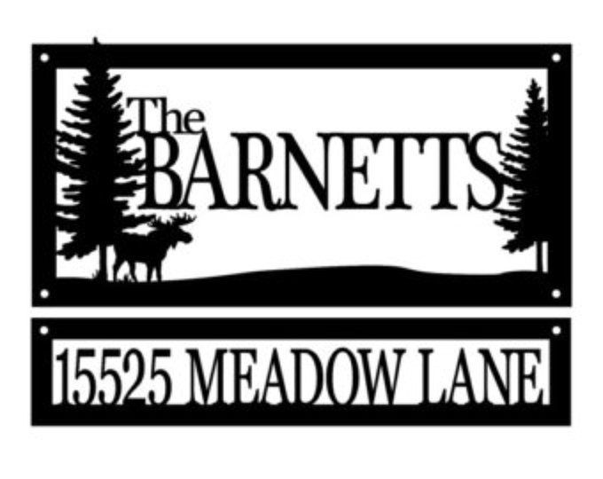 Custom Family Name and Address Metal Signs - Black, Moose, Outdoor ...