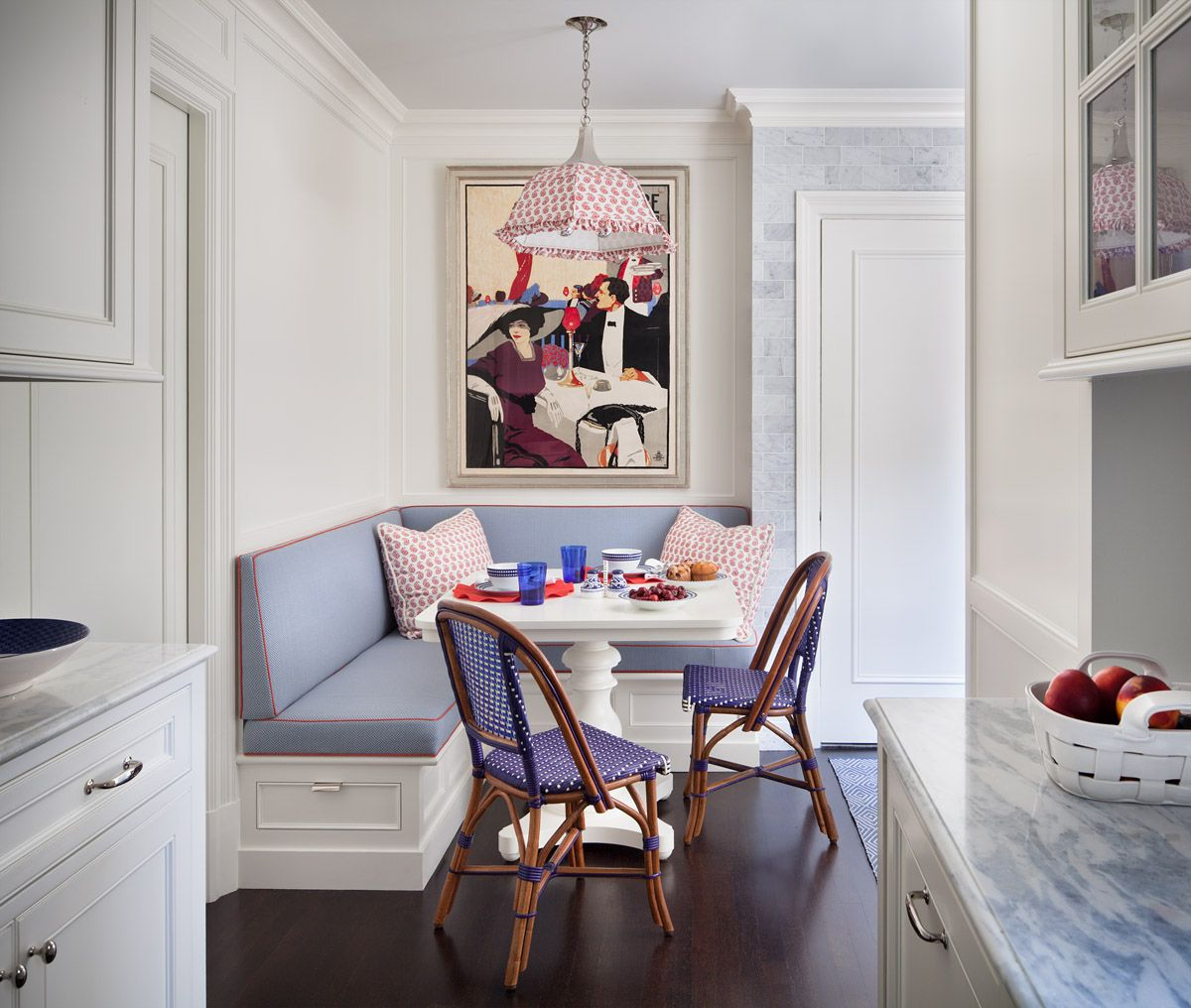 Painted Family Kitchen With Dining Nook: Breakfast Nook With Built-in Banquette