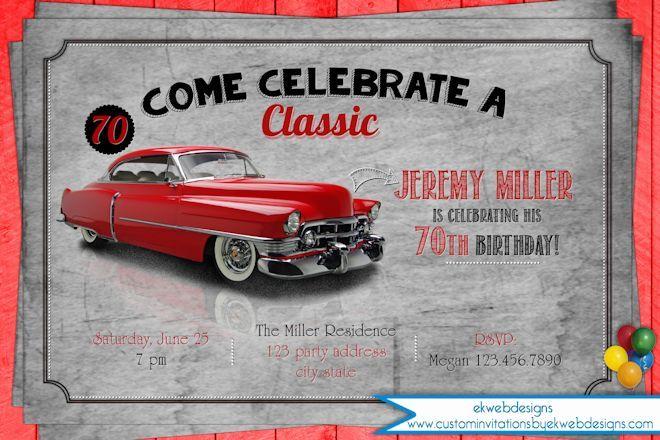 Classic Car Birthday Party Invitation Adult Mens Birthday - Classic car invitations