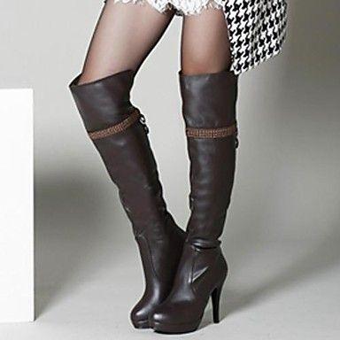 sapatos femininos rodada toe stiletto calcanhar joelho botas altas mais cores disponíveis de 2036461 2016 por R$38,10