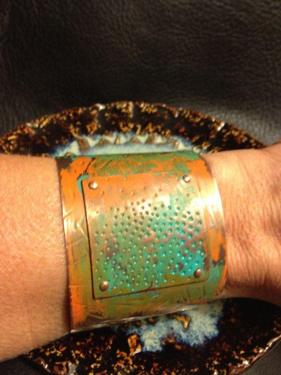 Verdigris, Turquoise & Rust,  Orange Patined Copper Cuff Bracelet on Etsy, $80.00