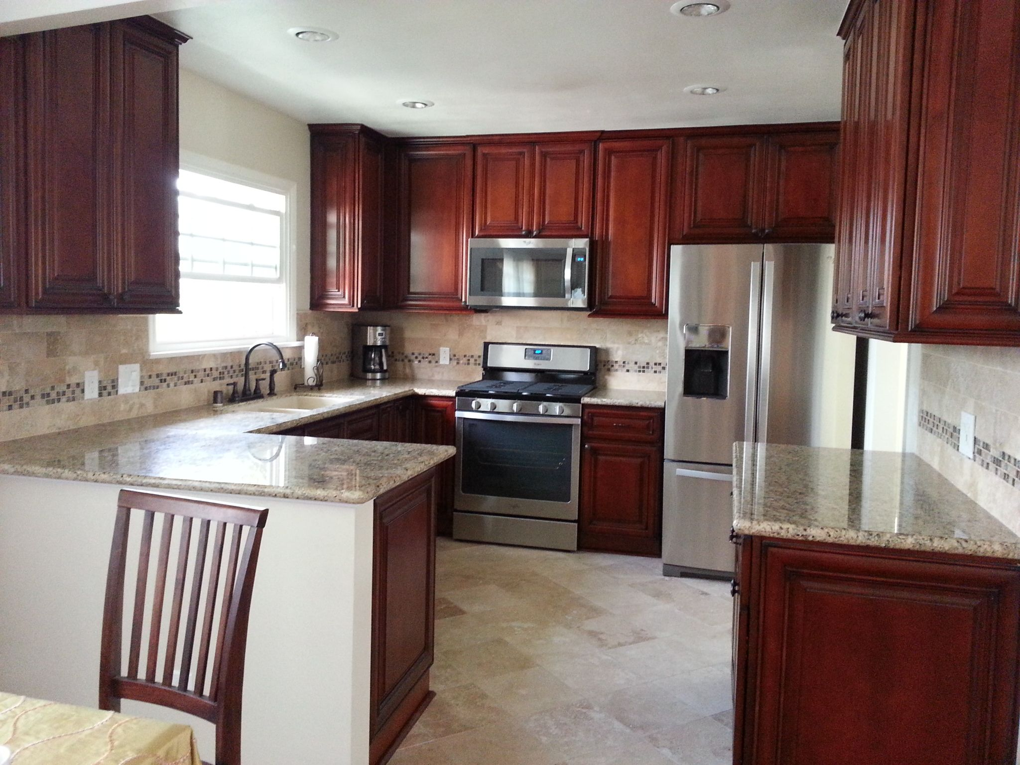 Red Cherry Glaze Cabinets And New Venetian Gold Granite