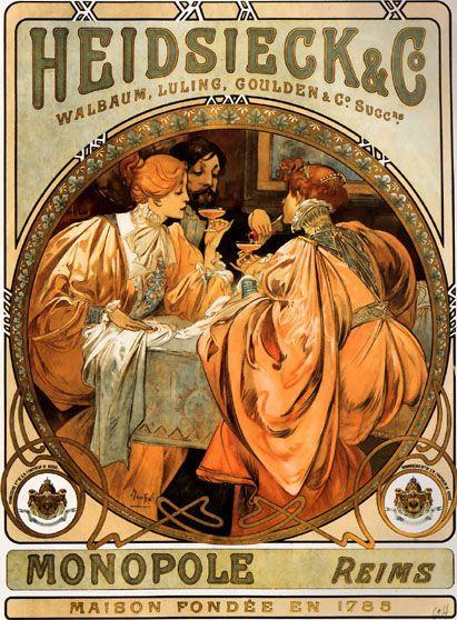 Alphonse Mucha poster art.