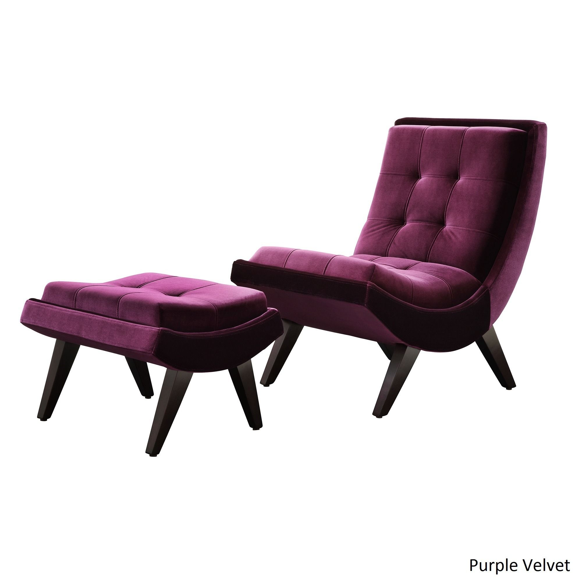 Inspire Q Albury Two-Tone Lounging Chair with Ottoman (Purple Velvet) (Faux