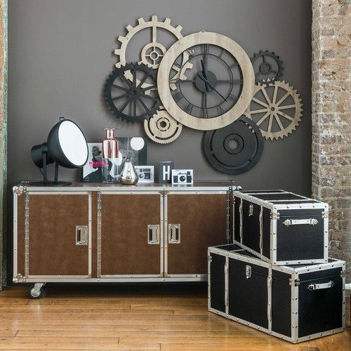 horloge bicolore hipster maisons du monde salon salle manger pinterest. Black Bedroom Furniture Sets. Home Design Ideas