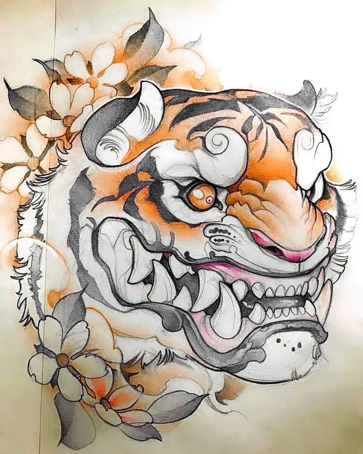 Japanese Tiger | Japanese tattoo art, Drawings, Tiger sketch