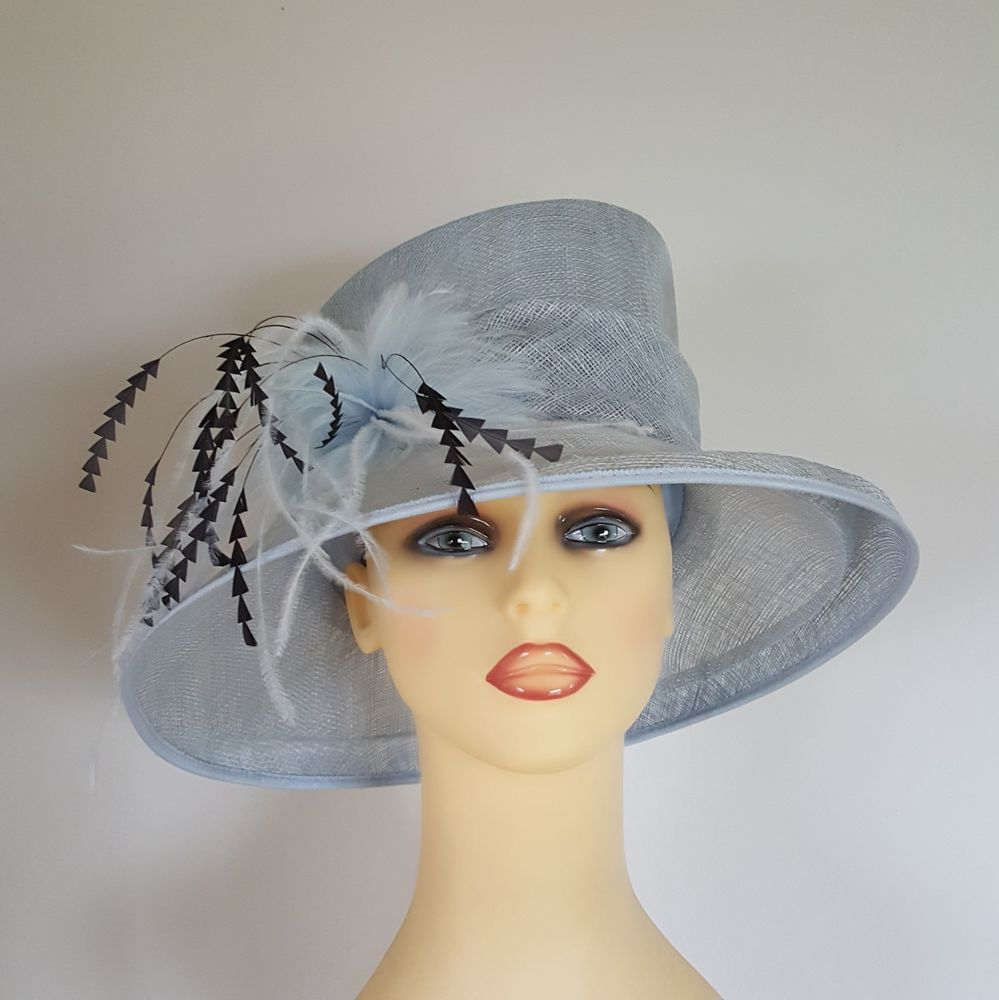 3de1260e Ladies Hat Wedding Races Pale Baby Blue / Charcoal Grey Feathers by Gold