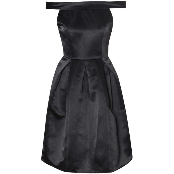 True Decadence Bardot Prom Dress , Black (€82) ❤ liked on Polyvore featuring dresses, black, black prom dresses, black midi dress, black off the shoulder dress, black sleeveless dress and black cocktail dresses