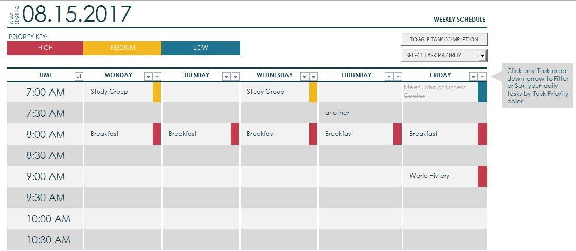 College Class Schedule Maker Template   exceltmp/college - daily schedule maker