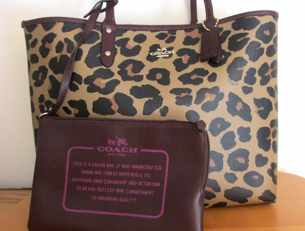 Coach 36643 Leopard Reversible City Tote Bag Animal Print Oxblood New Nwt