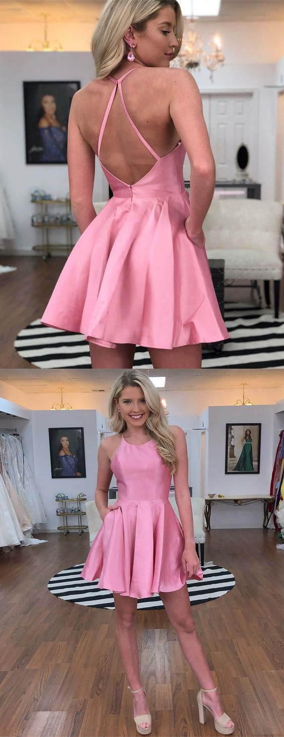 Aline crew open back aboveknee pink homecoming dress with pockets