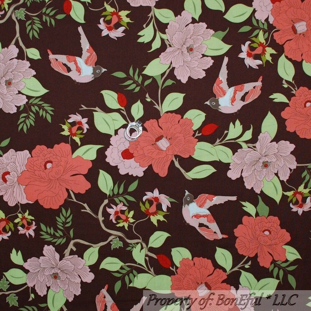 BonEful Fabric FQ Cotton Quilt VTG Red Pink Brown Leaf Large Flower Hippie Girl