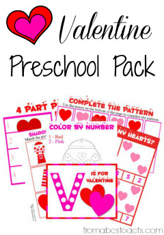 Printable Valentine preschool pack on From ABC's to ACT's