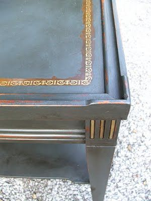 antique leather top end table chalk paint makeover painted